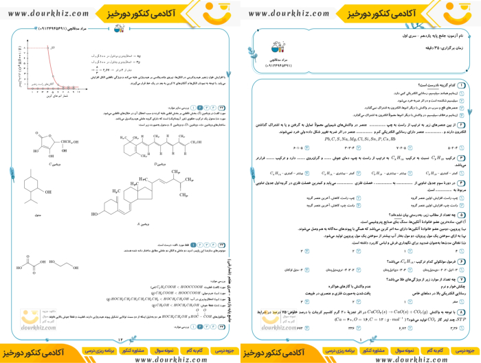 نمونه صفحه جزوه شیمی یازدهم