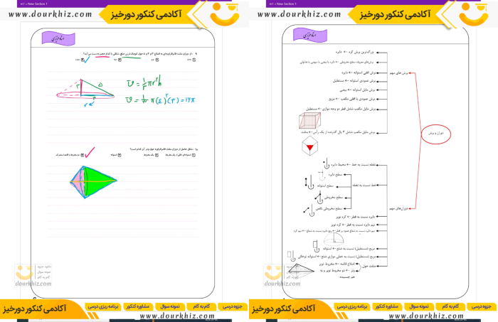 نمونه صفحه جزوه هندسه دوازدهم تجربی