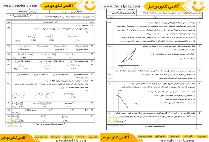 نمونه صفحه نمونه سوالات فیزیک دوازدهم تجربی
